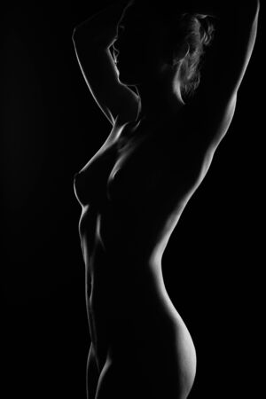 Art Nude, silhouette of a perfect Nude female body, sexy young woman on a dark background, black and white photo, Studio shot.