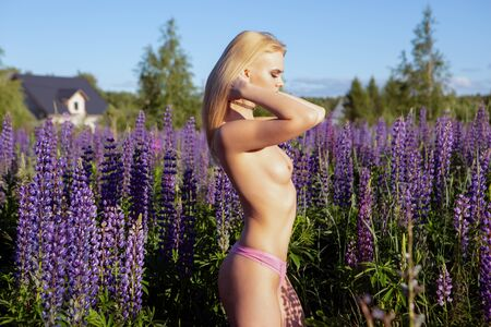 a sexy blonde girl with a beautiful figure and elastic Breasts stands on a blooming bright field correcting her chic hair. Banque d'images