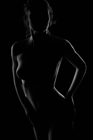 Contour-light photo of a woman on a black background. A girl with beautiful Breasts and a great body in a contoured light Banque d'images - 147972396