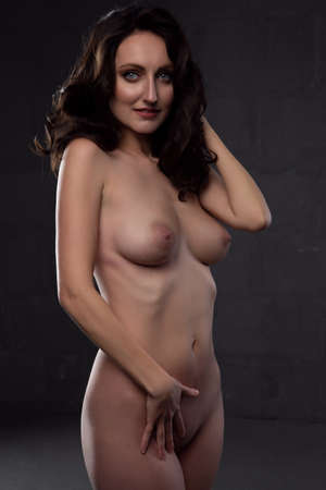 modest young brunette woman with a beautiful body