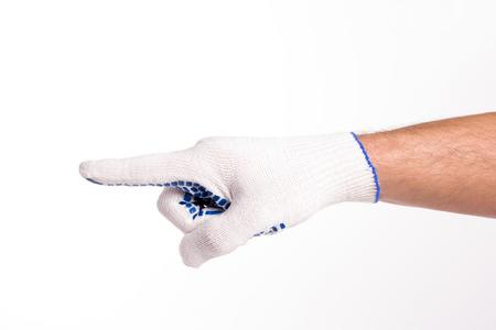 그의 gloved 손으로 제스처. 흰색 배경에.