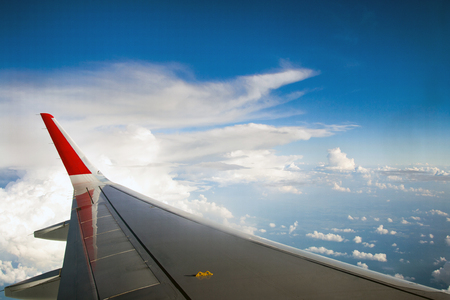 View of clouds from the airplane window Stock Photo