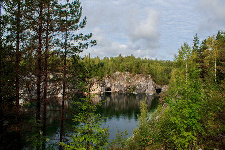 Marble rocks of the mountain park in Ruskeala