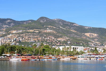 Pirate ships in Alanya. Boat trips on a sunny day. Bay of pirate kaorabley in Alanya. Turkey resort.