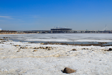 View of Gazprom Arena from the Gulf of Finland