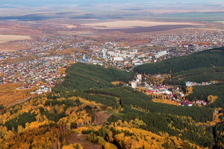 belokurikha: View of the city the resort from Tserkovks mountain in Belokurikha of Altai Krai Stock Photo