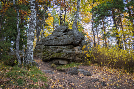 belokurikha: Huge natural stones on Tserkovks the mountain in the city of Belokurikha Stock Photo