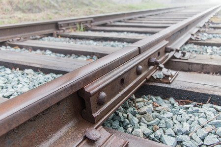 cross ties: Railway rails on wooden cross ties Stock Photo