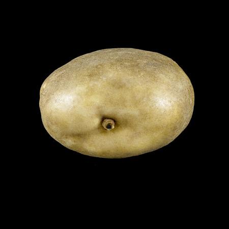 peephole: Mature potatoes with a peephole on a black background
