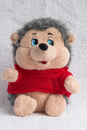 plush toy: Plush toy a hedgehog in a knitted jacket