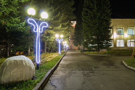belokurikha: Lamps on metal columns in sanatorium Altai West