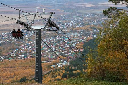 belokurikha: Descent on a ropeway from Tserkovks mountain in the city the resort of Belokurikha