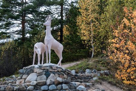 belokurikha: Sculpture of two deer on stones in park of Belokurikha