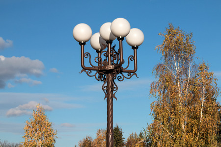 belokurikha: Lamps on metal columns in the city of Belokurikha