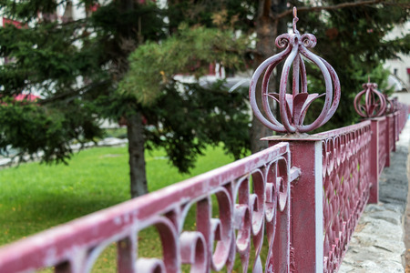 metal handrail: Metal protection in park of the city of the resort of Belokurikha