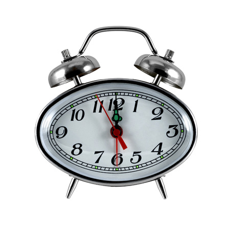 hour glass figure: Bracket clock with an alarm clock on a white background Stock Photo