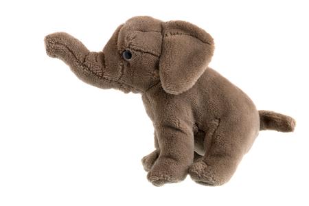 plush: Childrens plush elephant on a white background