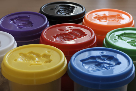 plastic to containers: Plastic containers for a manual molding Stock Photo
