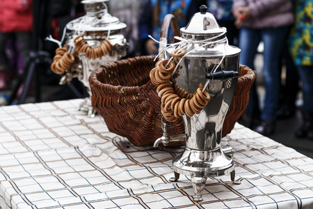 slavs: The Russian samovar with drying during a holiday