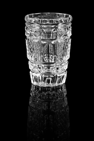 crystal background: Crystal glass with reflection on a black background Stock Photo