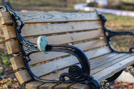 fidelidad: The lock on a bench in the city park