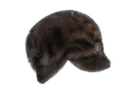 Winter mink cap on a white background Stock Photo