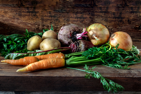 Vegetable products in a house cellar for salads Stock Photo