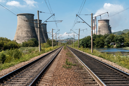 Railway rails along coolers of thermal power plant