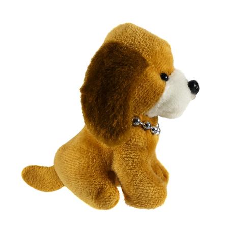 Toy plush doggie on a white background Archivio Fotografico
