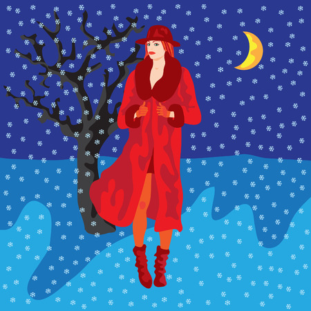Flat style vector illustration of a beautiful fashionable young woman standing in the center of square of falling snowflakes. A lonely winter tree and the Moon in the background.