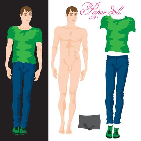 Vestir a la muñeca de papel. ilustración vectorial de estilo plano de un hombre joven de moda hermosa.