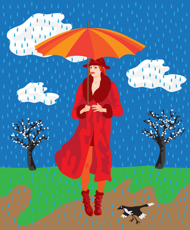 Flat style vector illustration of a beautiful fashionable young woman in red and a spring countryside in the background. Its raining.
