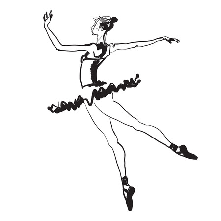 Hand-drawn black and white vector sketch of a young elegant dancing ballerina.