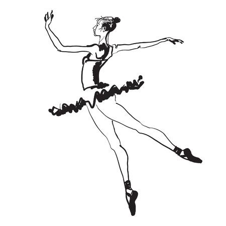 Dibujado a mano en blanco y negro dibujo vectorial de un joven elegante bailarina.