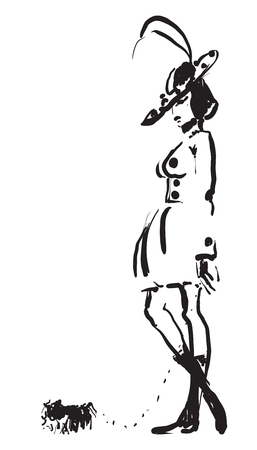 pekingese: Hand-drawn black and white vector sketch of a fashionable woman with a pekingese on a leash.
