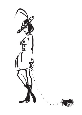 Hand-drawn black and white vector sketch of a fashionable woman with a pekingese on a leash.