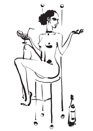 Hand drawn black and white vector sketch of a sexy nude young woman with a cocktail glass in hand sitting on the high chair in the bar.