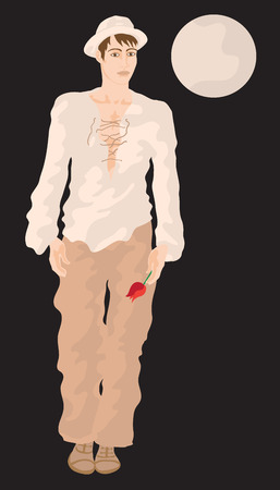 Flat style vector illustration of a beautiful fashionable young man waiting for his love with a flower in a hand. The Moon is shining. Illustration