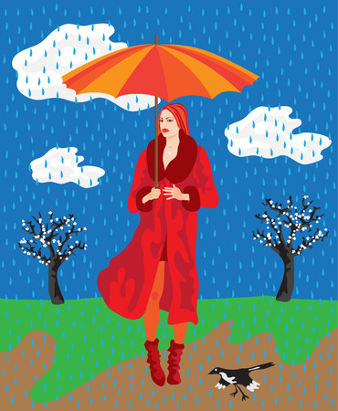 Flat style vector illustration of a beautiful fashionable Asian woman in red and a spring countryside in the background. Its raining.