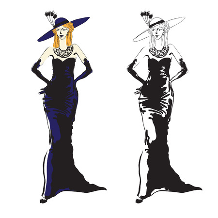 seductive: Hand drawn black and white (+colorized) vector sketch of a fashionable woman dressed up with an evening dress, gloves and a big hat. Illustration