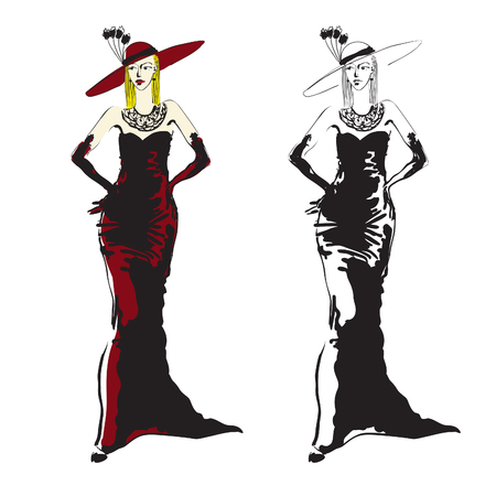 Hand-drawn black and white (+colorized) vector sketch of a fashionable woman dressed up with an evening dress, gloves and a big hat. Illustration