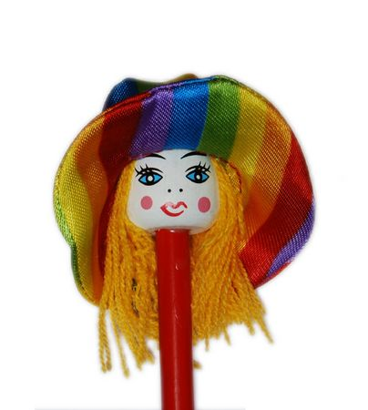 A pencil plug with a colored doll photo