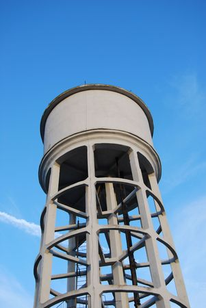 gravity: An aqueduct gravity tank with blue sky as background Stock Photo