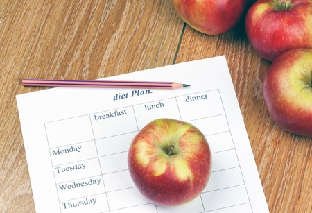diet Plan.diet plan, pencil and apple lying on a wooden surface Stock Photo - 18021297