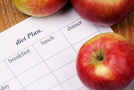 diet Plan.diet plan and apples lying on a wooden surface