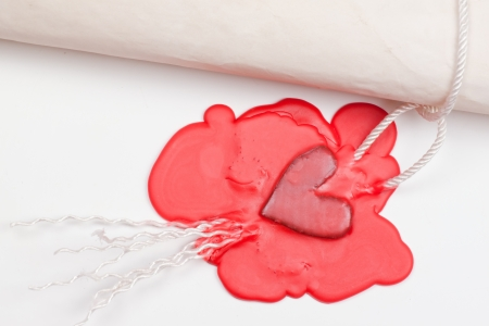love letter sealed the seal in the form of red heart