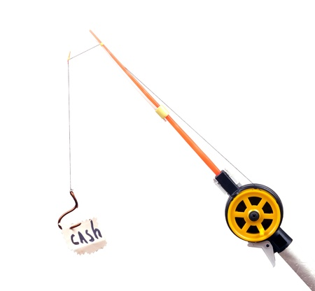 fishing rod with a hook on wearing the piece of paper with the word