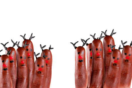funny reindeer painted on fingers Banco de Imagens