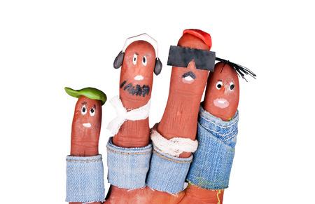 Petits hipsters drôles tirés sur les doigts d'aqua make-up Banque d'images - 23691702
