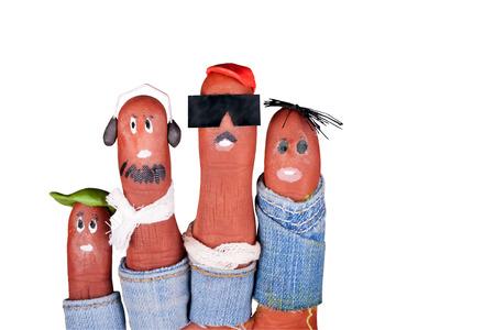 Petits hipsters drôles tirés sur les doigts d'aqua make-up Banque d'images - 23691706